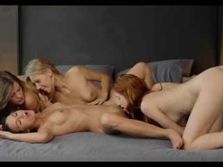 Four lesbians group sex video.
