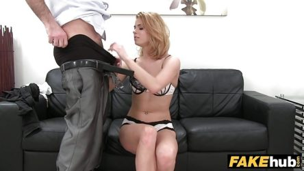 Shy Blonde fucked by FakeAgent