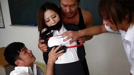 Japanese Threesome: horny students with teacher